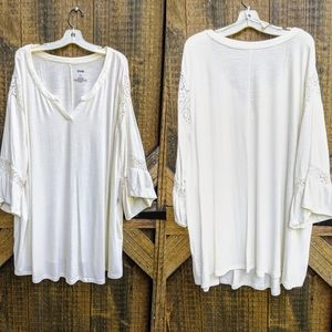 EVRI White Bell 3/4 Lace Accent Top 2X